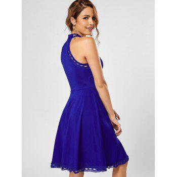 Mock Neck A Line Lace Trim Dress - BLUE BLUE