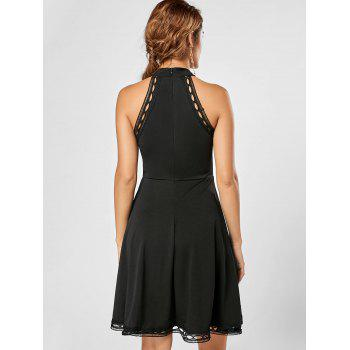 Mock Neck A Line Lace Trim Dress - BLACK BLACK
