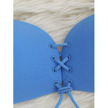 Seamless Lace Up Adhensive Bra - BLUE BLUE