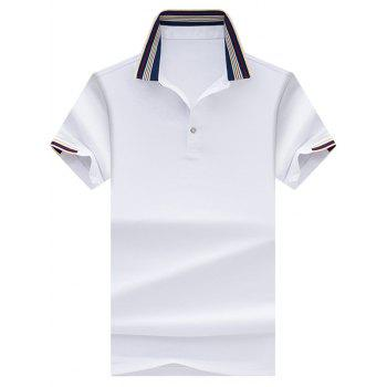 Stripe Collar Half Button Golf Shirt - WHITE WHITE
