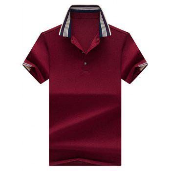 Stripe Collar Half Button Golf Shirt - CLARET CLARET
