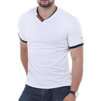 Button Embellish V Neck Tee - WHITE WHITE