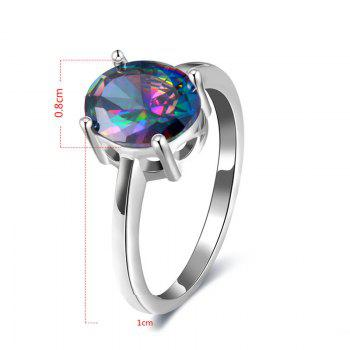 Artificial Gem Oval Ring - SILVER SILVER
