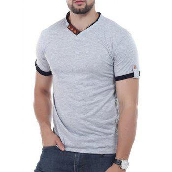 Button Embellish V Neck Tee - GRAY GRAY