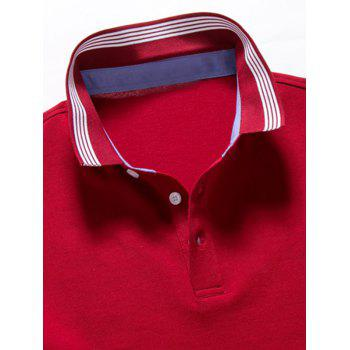 Striped Trim Short Sleeve Golf Shirt - RED RED