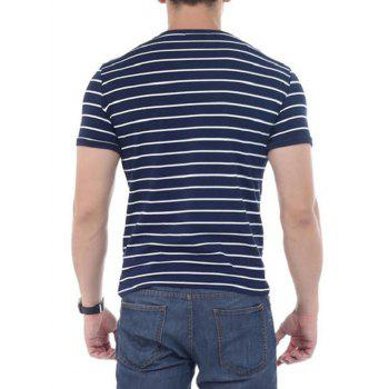 Crew Neck Striped Short Sleeves T-shirt - CADETBLUE CADETBLUE