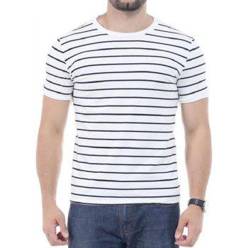 Crew Neck Striped Short Sleeves T-shirt - WHITE WHITE