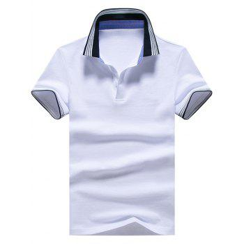 Striped Trim Short Sleeve Golf Shirt - WHITE WHITE