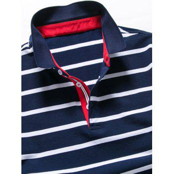 Striped Half Button Golf Shirt - PURPLISH BLUE PURPLISH BLUE