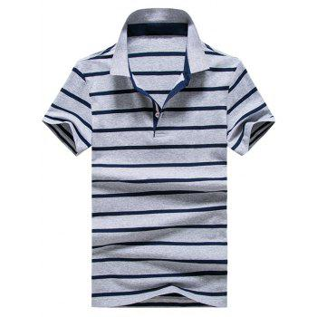 Striped Half Button Golf Shirt - LIGHT GREY XL
