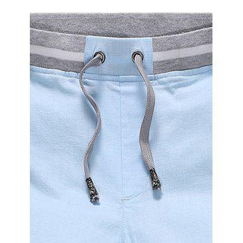 Stripe Panel Drawstring Waist Bermuda Shorts - Bleu Foncé 3XL
