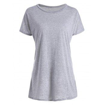 Casual Women's Scoop Neck Wing Pattern Loose-Fitting T-Shirt - LIGHT GRAY L
