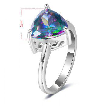 Faux Gem Triangle Ring - SILVER 6