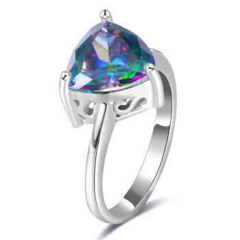 Faux Gem Triangle Ring - SILVER SILVER