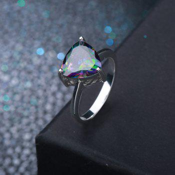 Faux Gem Triangle Ring - SILVER 7