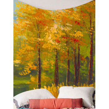 Home Decor Oil Painting Maple Tree Wall Tapestry - GOLDEN W79 INCH * L59 INCH