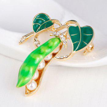 Faux Pearl Rhinestone Inlay Enamel Legume Brooch - LIGHT GREEN