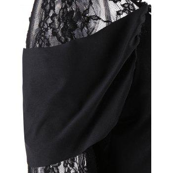 Long Lace Sleeve Tunic Handkerchief Top - BLACK 2XL