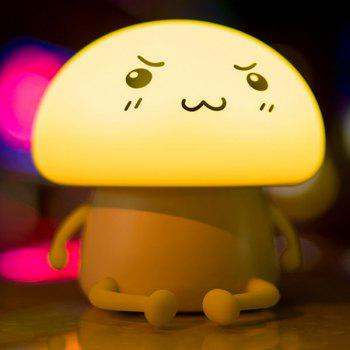 Lumière de nuit ronde rechargeable LED Cartoon Cartoon Mushroom - Jaune