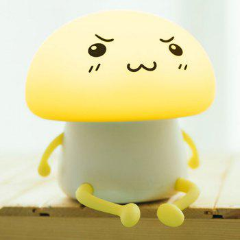 LED Cartoon Mushroom USB Rechargeable Night Light - YELLOW