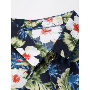 Plus Size 3D Flowers and Leaves Print Long Sleeve Shirt - COLORMIX 7XL