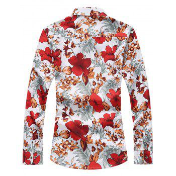 Plus Size Flowers and Leaves Print Long Sleeve Shirt - RED 7XL
