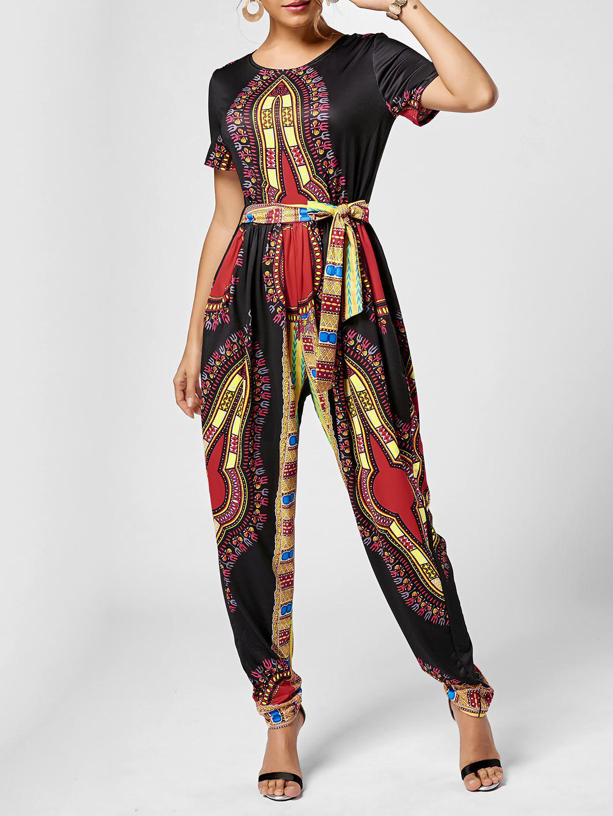 Tribe Print Combinaison Belted - Noir S