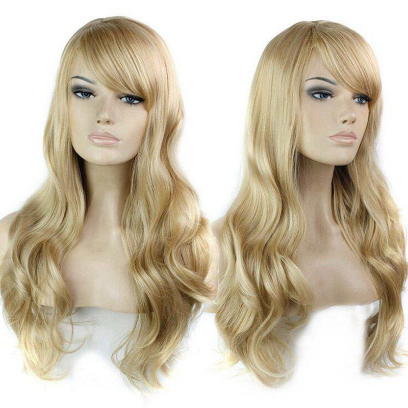 Inclined Bang Long Wavy Human Hair Wig - BLONDE