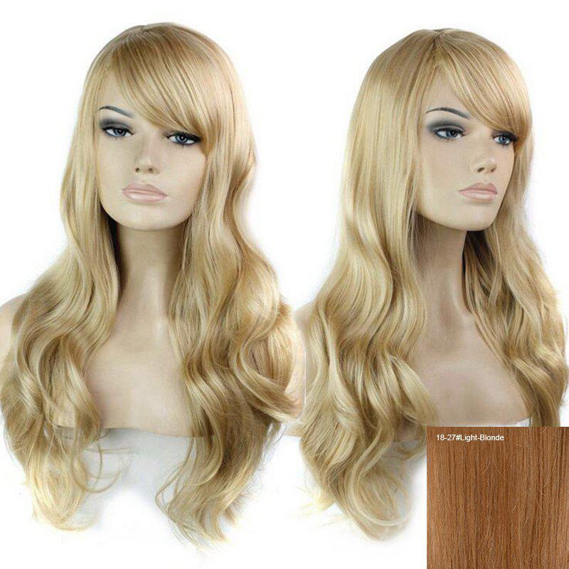 Inclined Bang Long Wavy Human Hair Wig - LIGHT BLONDE