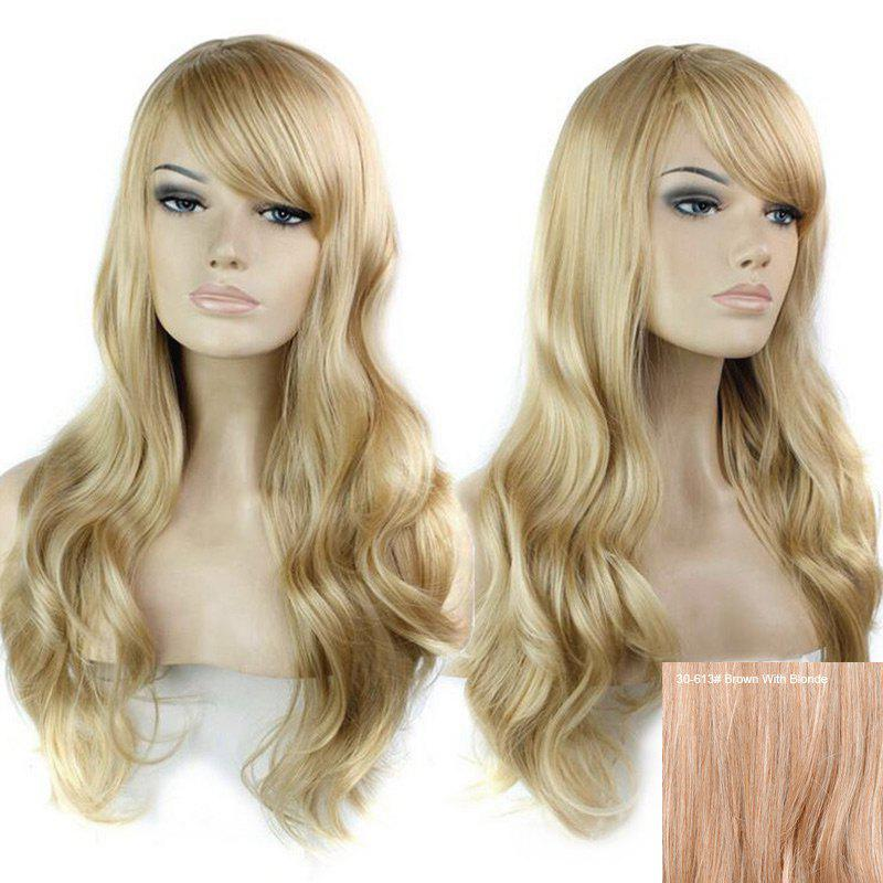 Inclined Bang Long Wavy Human Hair Wig - BROWN/BLONDE