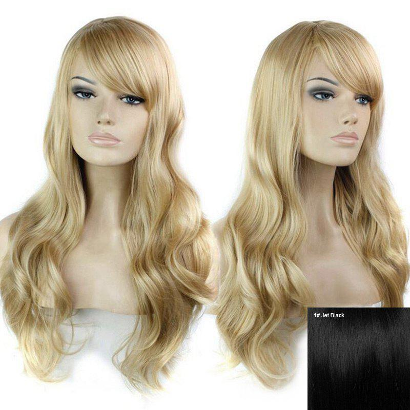 Inclined Bang Long Wavy Human Hair Wig - JET BLACK