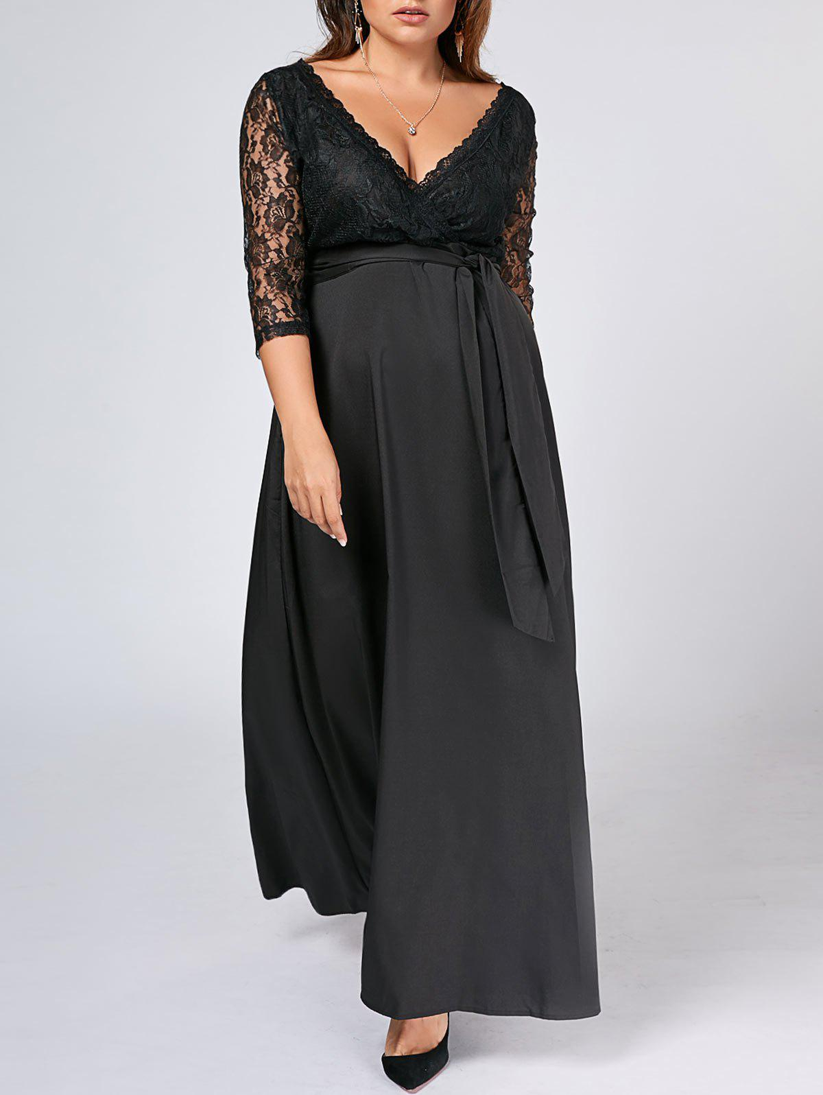 Plus Size Lace Sleeve Long Maxi Dress пальто aurora firenze aurora firenze au008ewlbs50