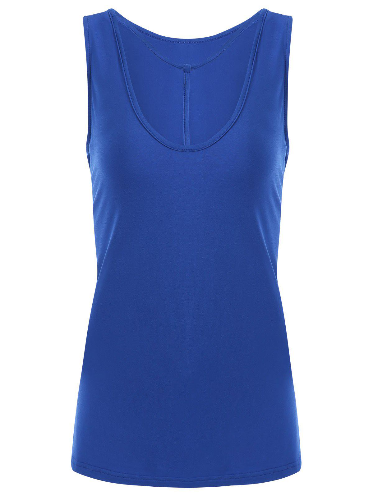 Y-strap Casual Tank Top - BLUE M