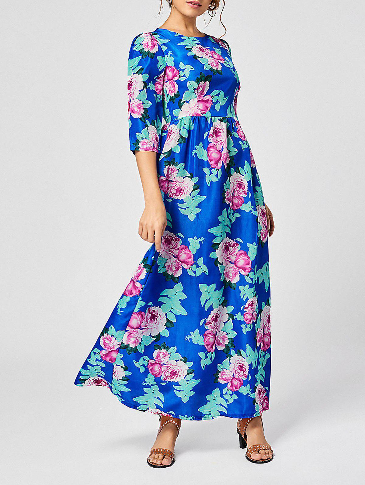 Bohemian Floral Print Maxi Long Dress - BLUE S