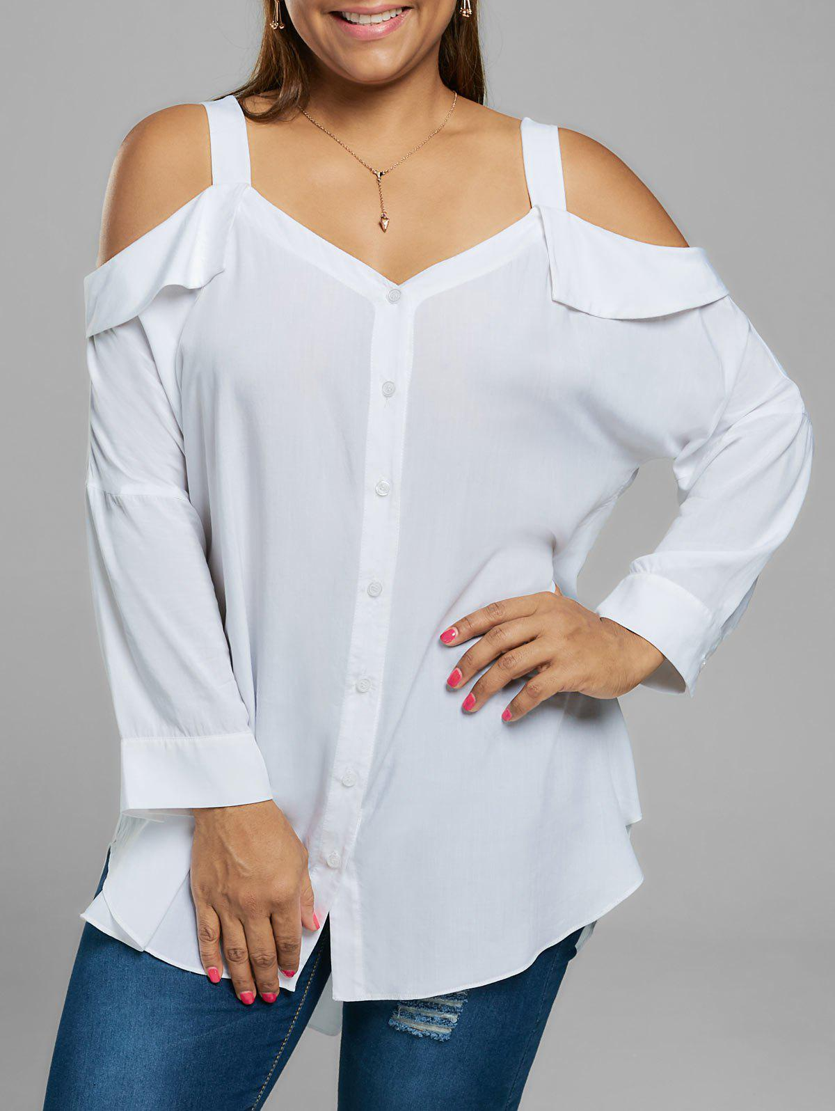 Plus Size Button Up Cold Shoulder Blouse - WHITE 5XL
