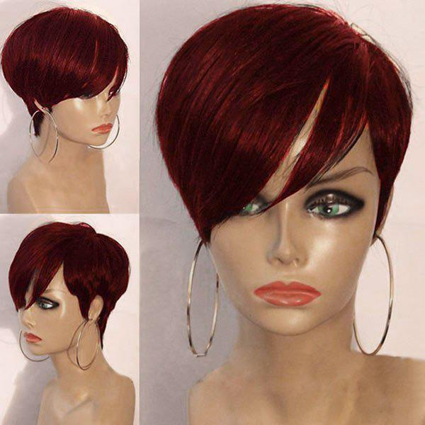 Short Layered Oblique Bang Straight Synthetic Wig oblique shoulder layered frill ditsy top