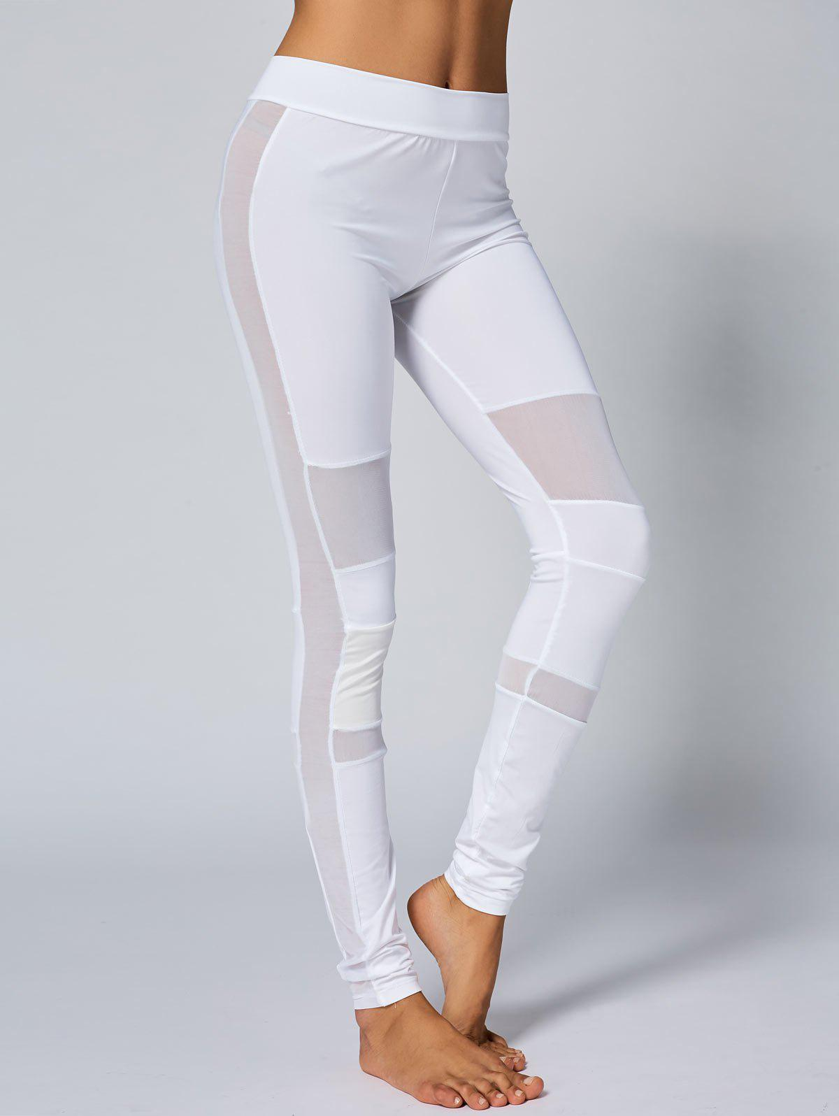 Mesh Panel Skinny Yoga Leggings - WHITE S