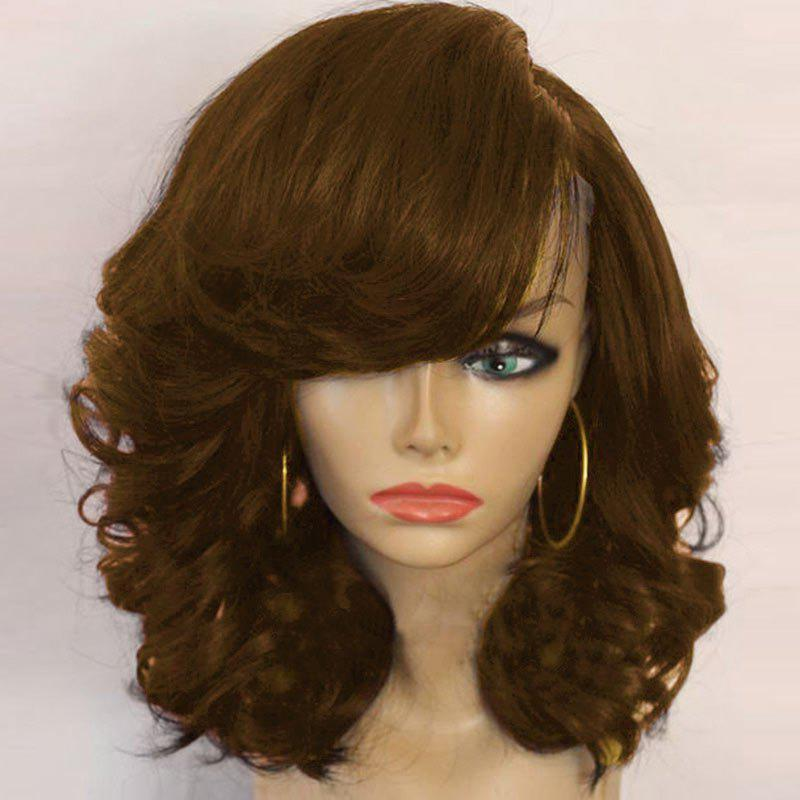 Medium Side Part Fluffy Curly Synthetic Wig
