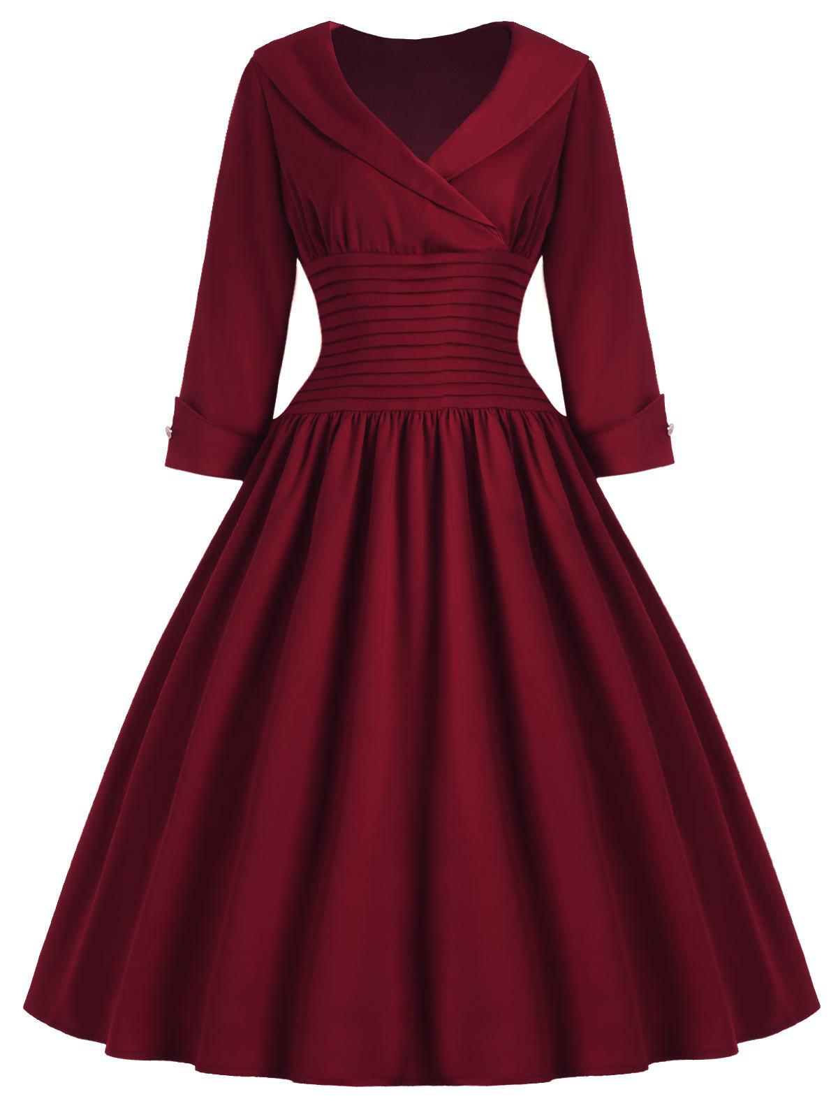 Vintage Women's Turn-Down Collar 3/4 Sleeve Slimming Dress - WINE RED L