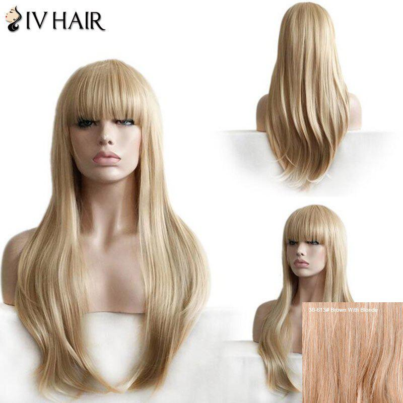 Siv Hair Full Bang Layered Straight Long Human Hair Wig - BROWN/BLONDE