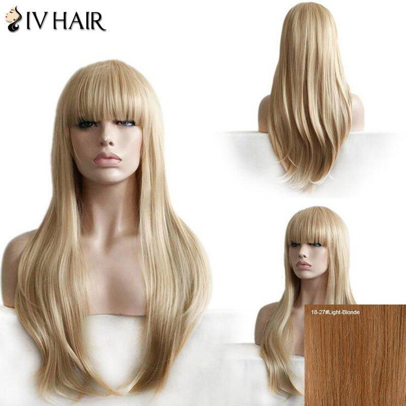 Siv Hair Full Bang Layered Straight Long Human Hair Wig - LIGHT BLONDE
