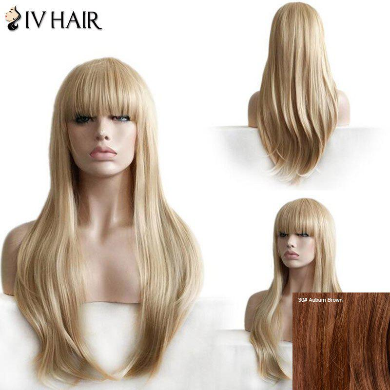 Siv Hair Full Bang Layered Straight Long Human Hair Wig - AUBURN BROWN
