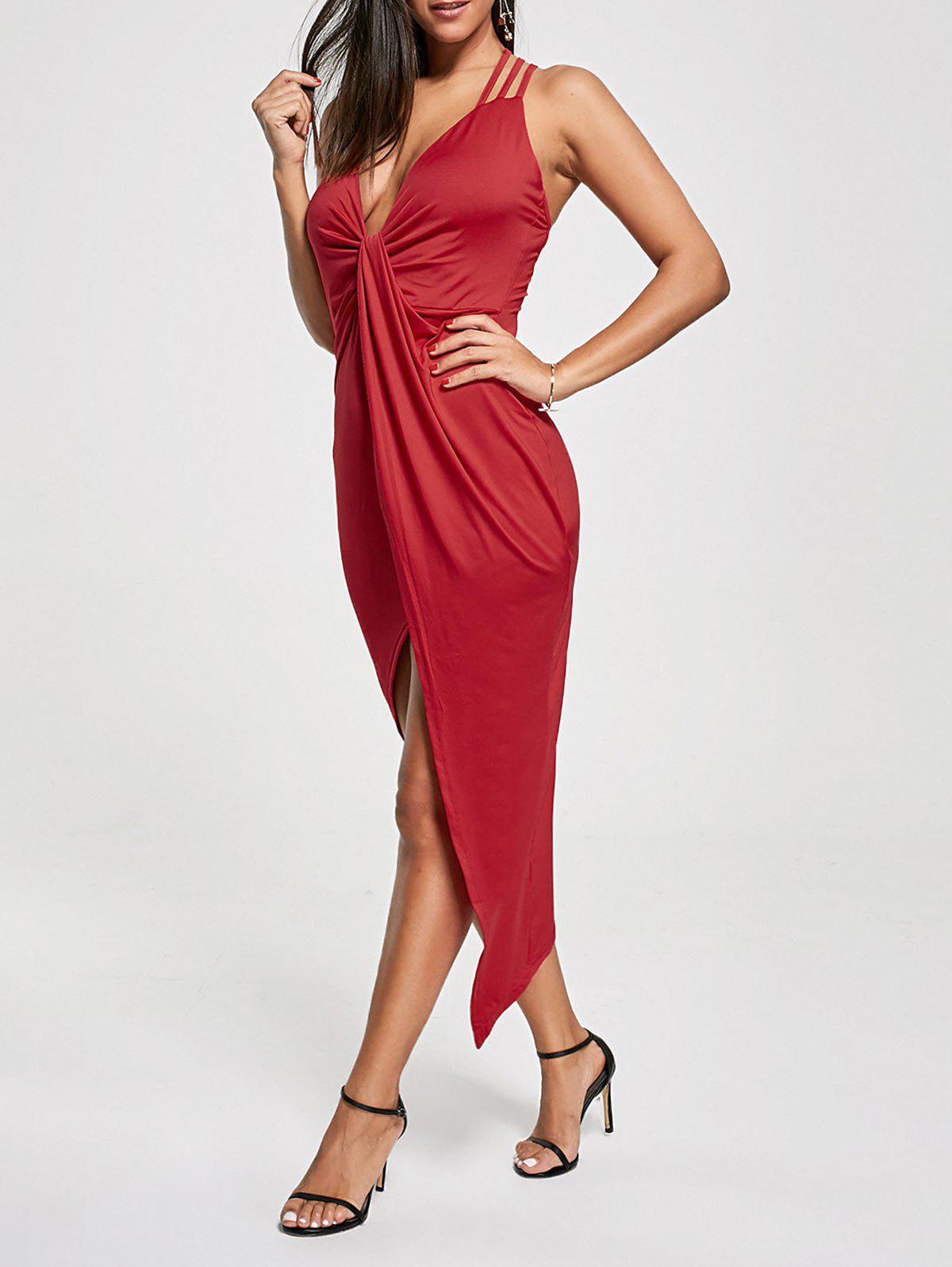 Criss Cross Cutout Front Twist Asymmetric Club Dress - RED L