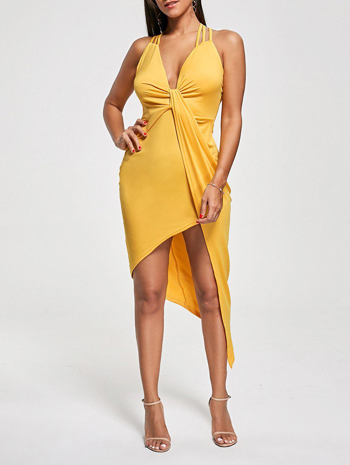 Robe de club asymétrique en croix Criss Cross Cutter Twist - Jaune XL