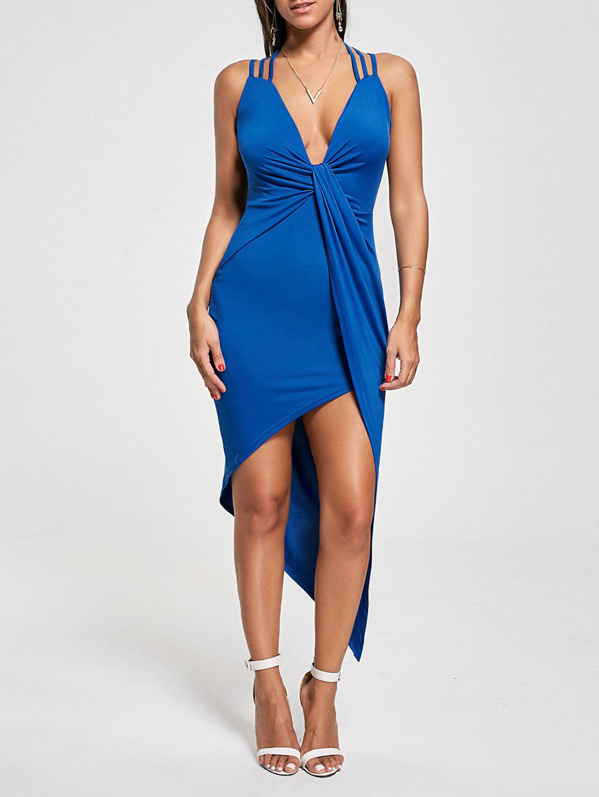 Criss Cross Cutout Front Twist Asymmetric Club Dress - BLUE M