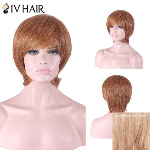 Siv Hair Inclined Bang Short Straight Human Hair Wig - BROWN/BLONDE