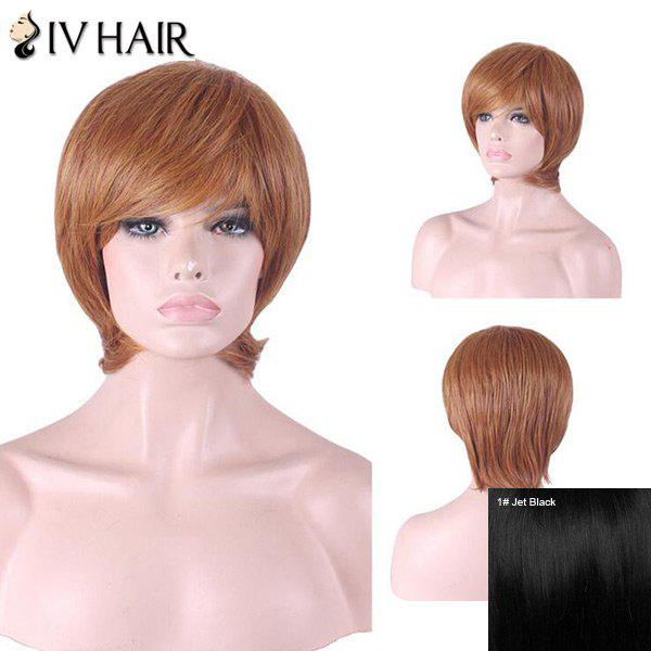 Siv Hair Inclined Bang Short Straight Human Hair Wig - JET BLACK
