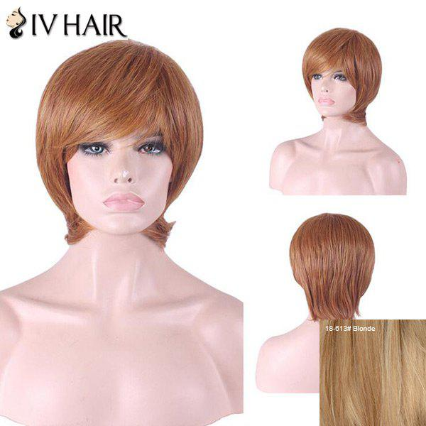 Siv Hair Inclined Bang Short Straight Hair Hair Wig - Blonde