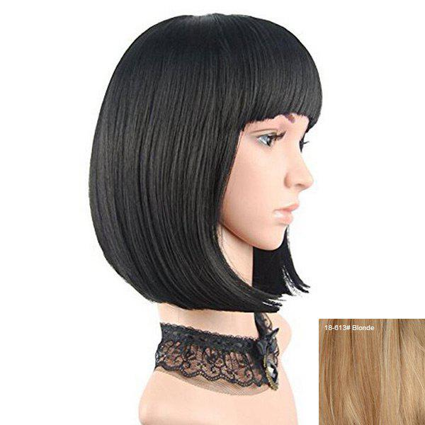 Neat Bang Short Straight Bob Perruque de cheveux humains - / Blonde
