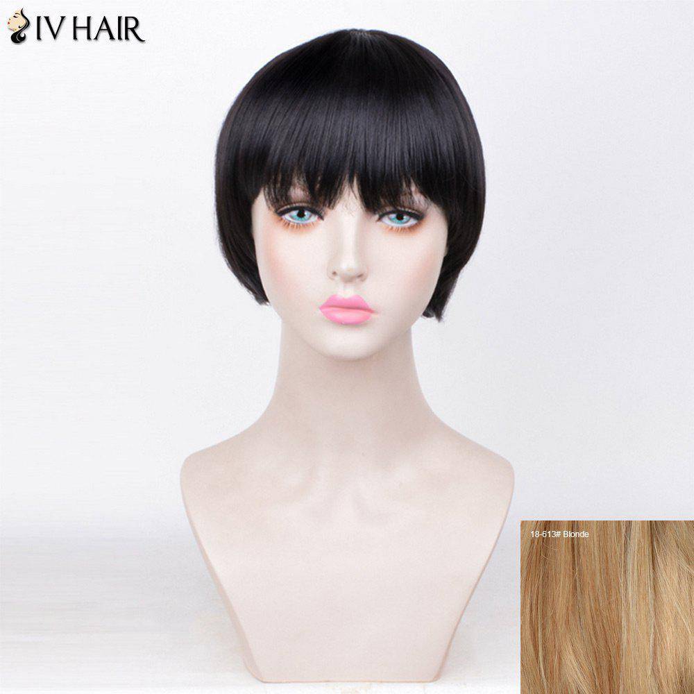 Siv Hair Straight Full Fringe Short Bob Perruque de cheveux humains - / Blonde